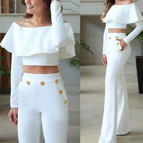 White Buttons Pockets Ruffle Off Shoulder Two Piece Wide Leg Long Jumpsuit