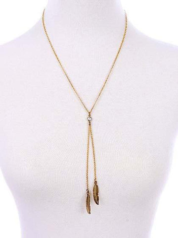 Golden And Crystal Stone Leaf Pendant Necklace