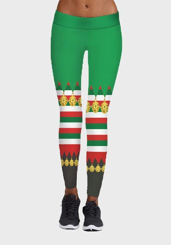 Green Striped Small Bell Print Santa Workout Yoga High Waisted Sports Long Legging
