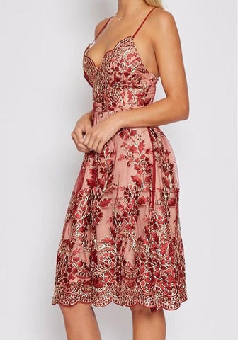 Red Patchwork Hollow-out Lace Condole Belt Zipper Midi Dress