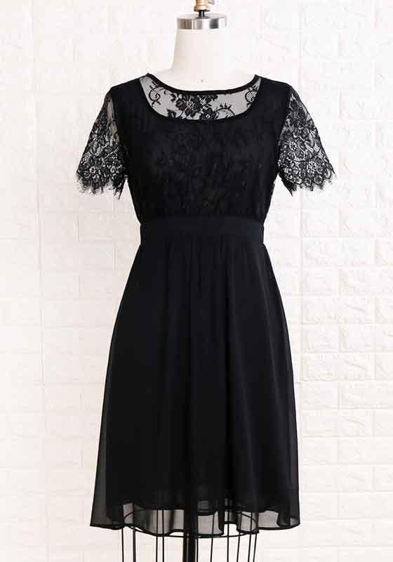 Black Patchwork Lace Draped Elegant Party Chiffon Midi Dress