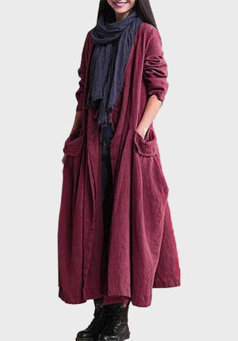 Red Pockets Plunging Neckline No Button Long Sleeve Cardigan Coat