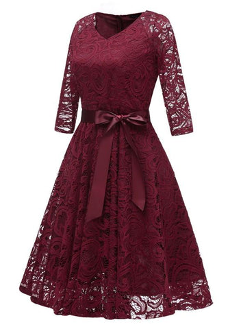 Burgundy Draped Lace Sashes A-Line V-neck Elegant Party Midi Dress