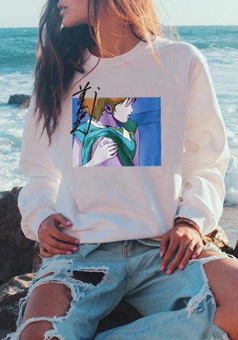 White Floral Round Neck Long Sleeve Fashion Sweatshirt