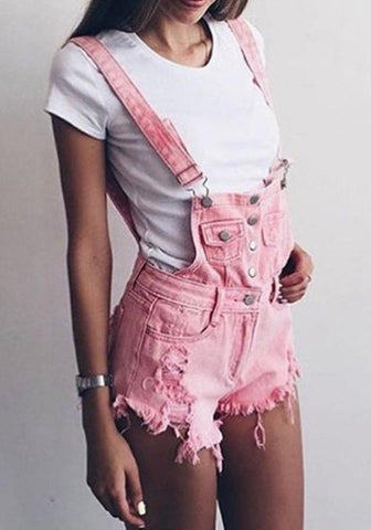 Pink Shoulder-Strap Pockets Zipper Single Breasted Casual Short Jumpsuit