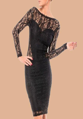 Black Floral Lace Chain Backless Long Sleeve Bodycon Clubwear Homecoming Party Midi Dress