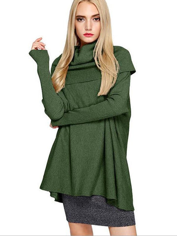 Fashion Soft High Collar Long Sleeve Loose Sweater Tops