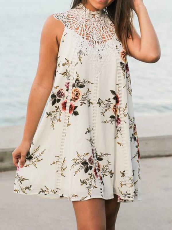Popular Fashion Floral-Print Round Neck Sleeveless loose Mini Dress