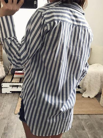 Casual Striped Long Sleeve Loose Blouse