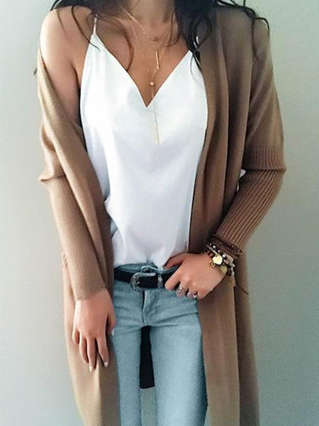 Street Casual Knit Solid Color Open Collar Cardigan