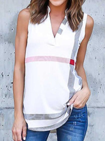 V Neckline Casual Plain Sleeveless Shirt