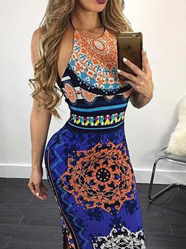 Pretty Sexy Floral-Print Strapes Off-Back Slim Fit Side Split Maxi Dress