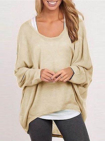 Women's Casual Pure Color Oversize Sweater Top