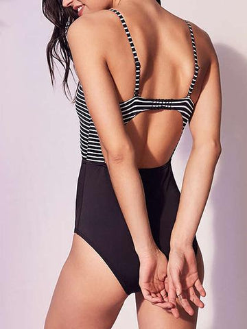 Simple Bow Tie Stripes High Waist One-piece Swimsuit