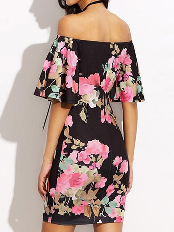 Floral Sexy Flare Sleeve Off Shoulder Strapless  Bodycon Mini Dress
