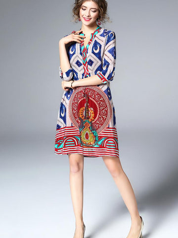 Boutique Printing V-Neck Half Sleeve Real Silk Loose Mini Dress