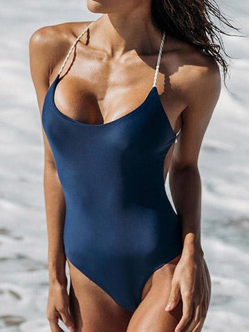 Just Watch Me Back Cross Solid Color One Piece Bikini