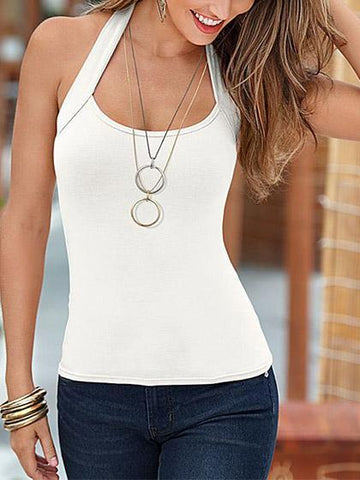 Sexy Sleeveless Halter Solid Color Top Camisole