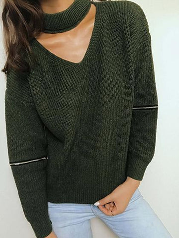Sexy Cut Out V-neck Zip Decoration Long Sleeve Sweater