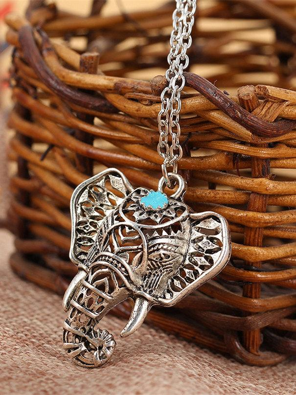 Vintage Hollow Elephant Pattern Necklaces Accessories