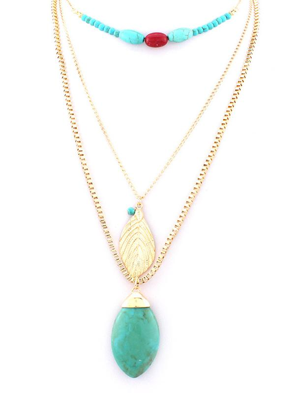 Leaf Pattern Turquoise Necklaces Accessories