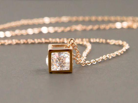 Golden Crystal Cubic Necklace