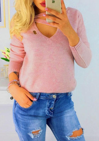 Pink Cut Out V-neck Long Sleeve Fashion Pullover Sweater