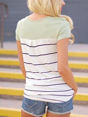 Daily Casual Striped Round Neckline Top