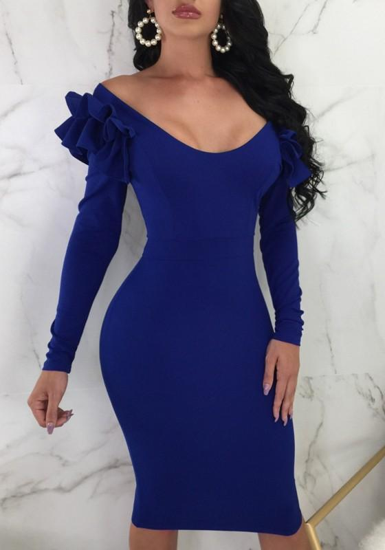 Blue Ruffle Zipper Off Shoulder Backless Bodycon Elegant Party Midi Dress