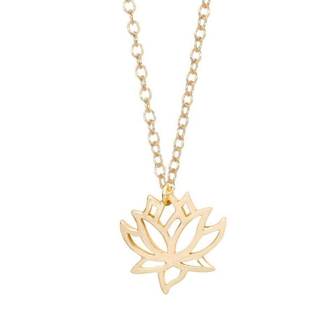 Delicate Lotus Flower Gold Chain Necklace