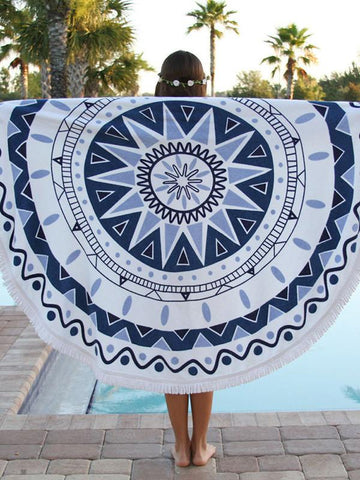 Pretty Blue and White Round Shawl Beach Mat