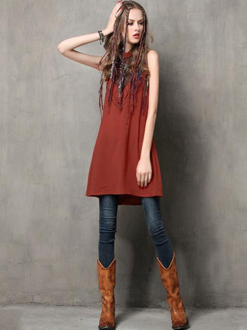 High-neck Embroidered Jumper Mini Dress