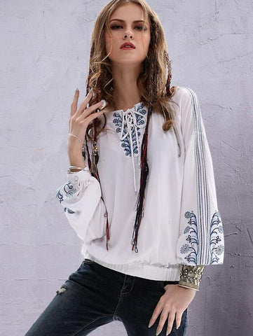 Embroidered Puff Sleeves Blouses&Shirts tops