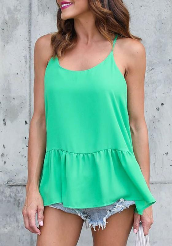 Green Spaghetti Strap Round Neck Sleeveless Casual Blouse