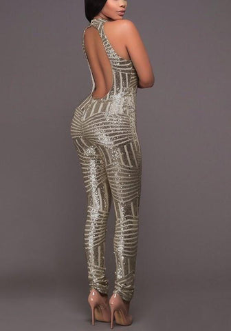 Champagne Geometric Sequin Cut Out Halter Elastic Waist Fashion Clubwear Party Long Jumpsuit