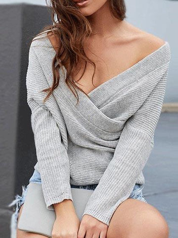 Black Off Shoulder Sexy Sweater