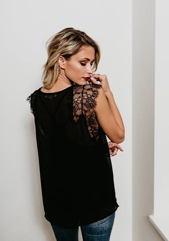 Black Lace 2-in-1 V-neck Fashion Vest