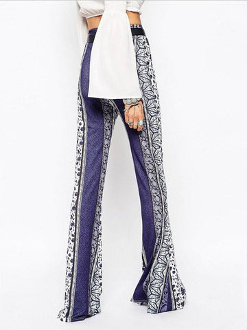 Blue and White Porcelain Printed Bell-bottoms Casual Pants