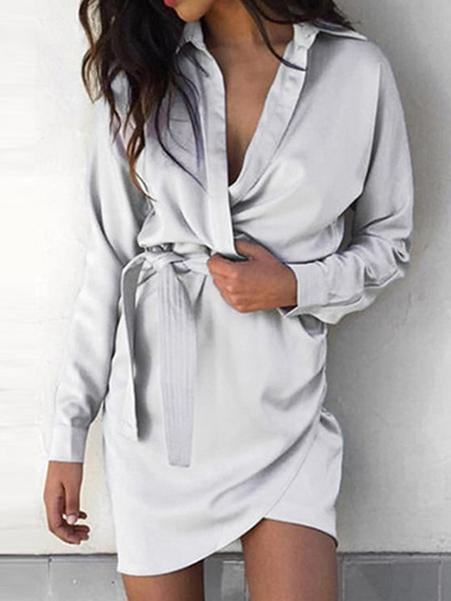 Fashion Gray Long Sleeve Mini Dress
