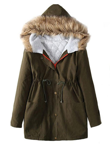 Solid Color Fur Collar Thick Coat Outwears