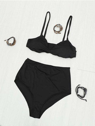 Chain Reaction Solid Color High Waist Bikini Set