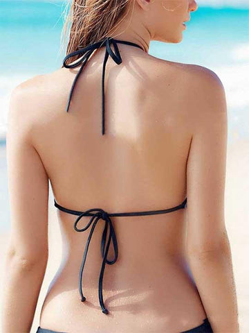 Beach Babe Solid Color Cute Suit Bikini Set