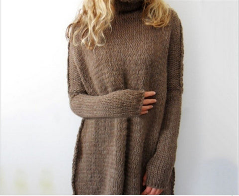 Women Fashion Autumn and Winter Casual Gray Irregular Pullover Turtleneck Sweater