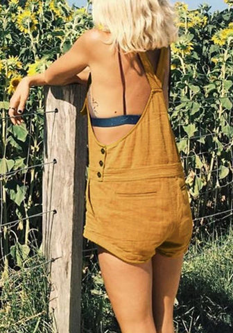 Yellow Shoulder-Strap Buttons Pockets High Waisted Cute Overall Short Jumpsuit