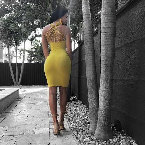 Yellow Cut Out Backless Cross Back Spaghetti Strap Bodycon Clubwear Midi Dress