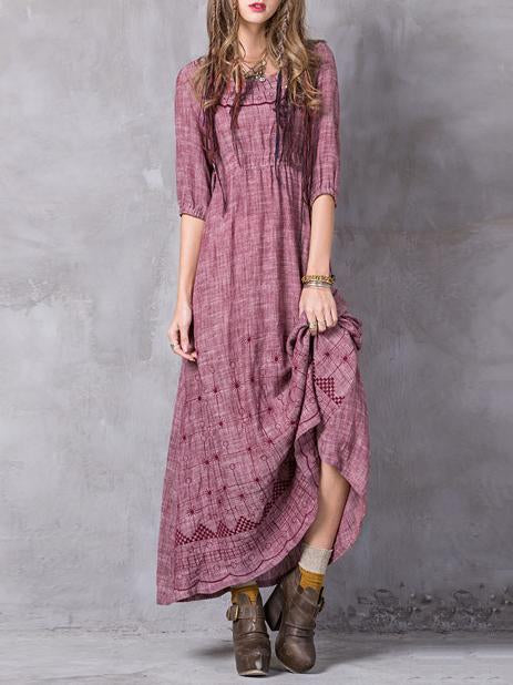 Ramie Cotton Hollow Waisted Maxi Dress