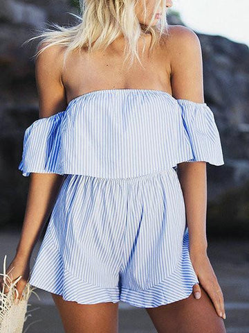 Sexy Bateau Flounce Street Style Backless Off Shoulder Romper