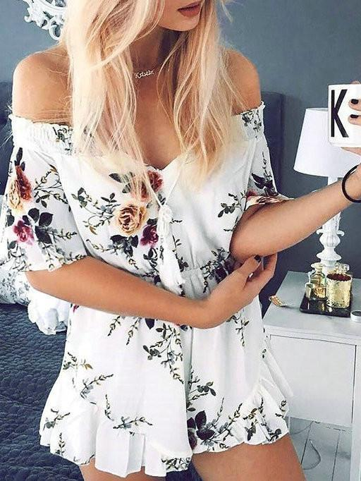 Boho Floral Print Bateau Backless Off Shoulder Romper