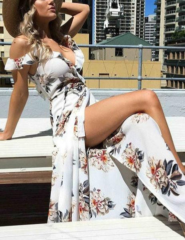 Beach Secrets Floral Print Haltel Off Shoulder Dress