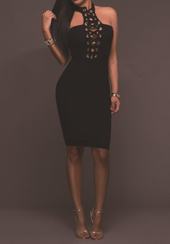Black Plain Hollow-out Cut Out Midi Dress